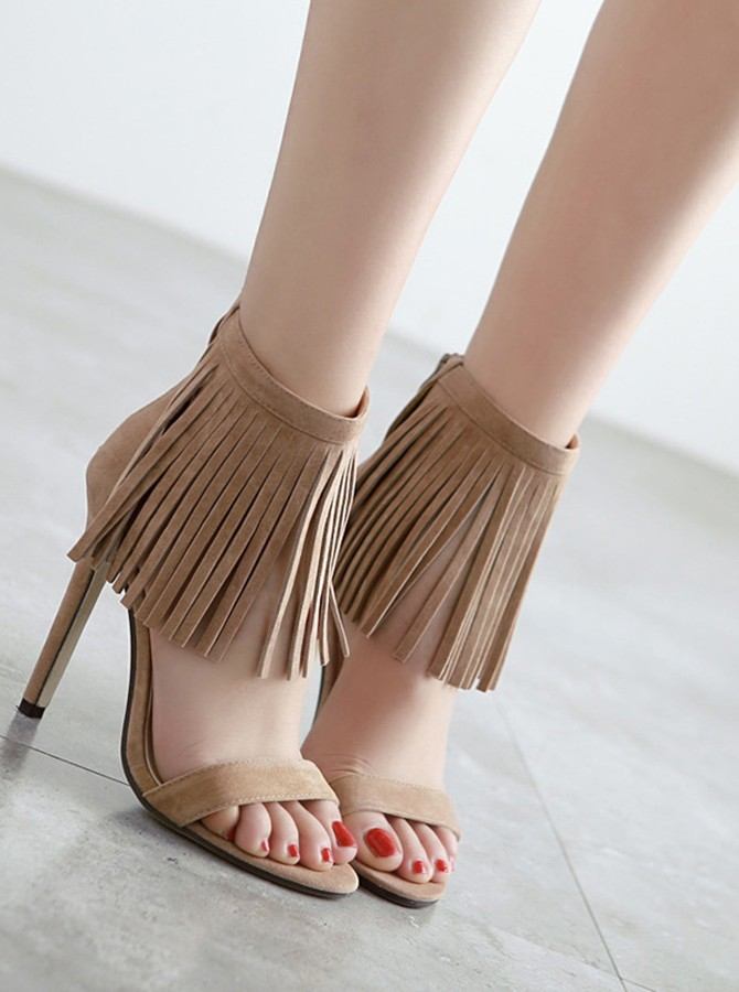 Brown Ankle Straps Tassel Stiletto Heels