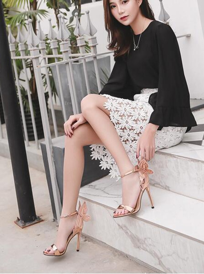 Ankle Strap Gold Butterfly Stiletto High Heels