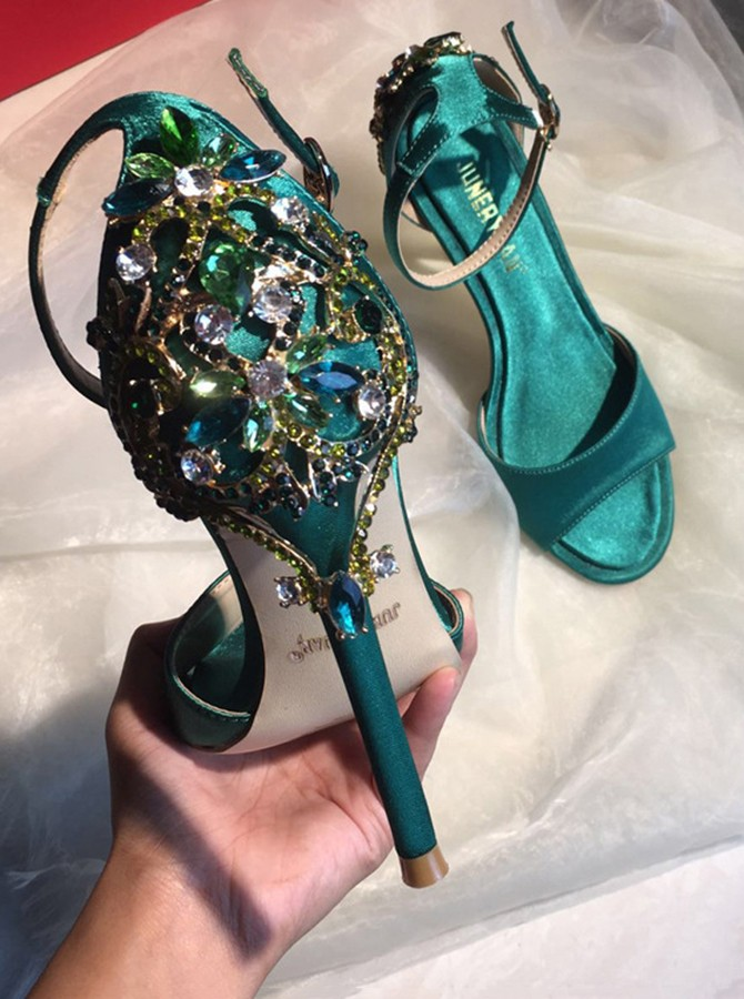 Ankle Strap Green High Heels Sandals with Beading