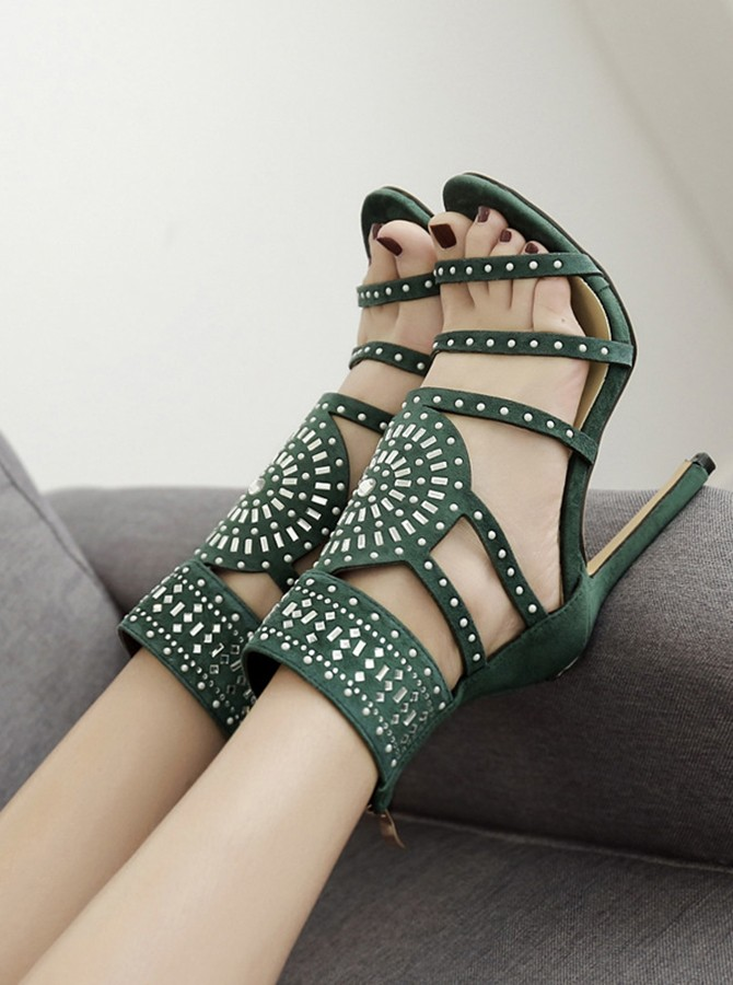 Army Green Open Toe Stiletto Ankle Strap Heels