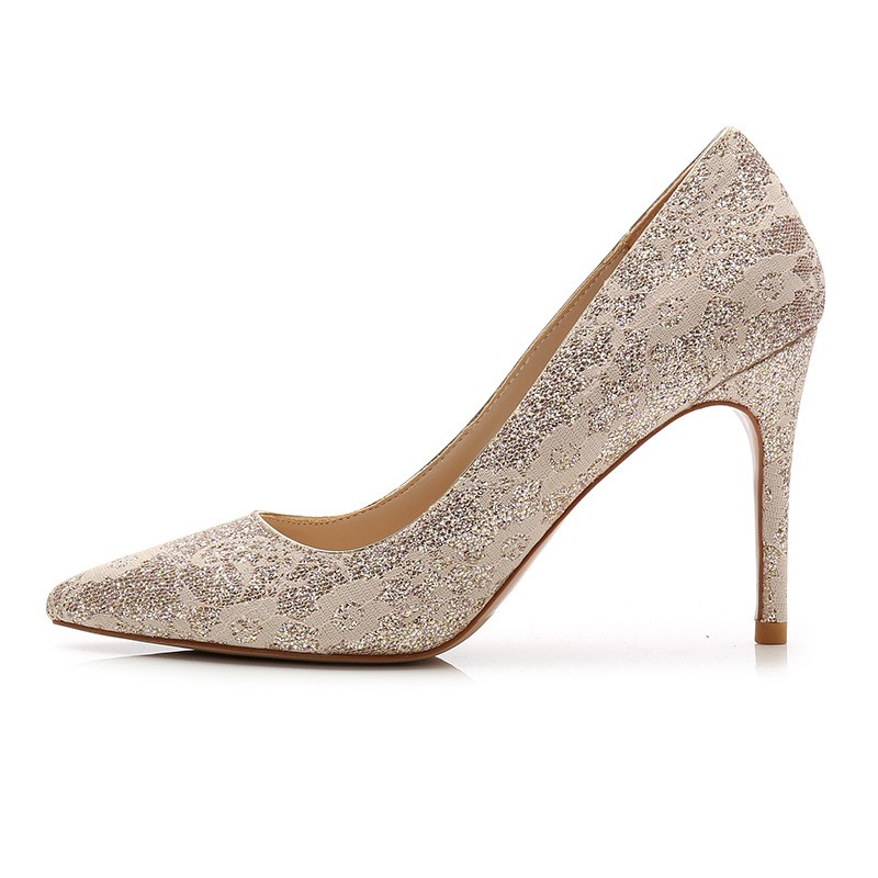 Stiletto Heel Closed Toe Lace Wedding Shoes,Party Shoes