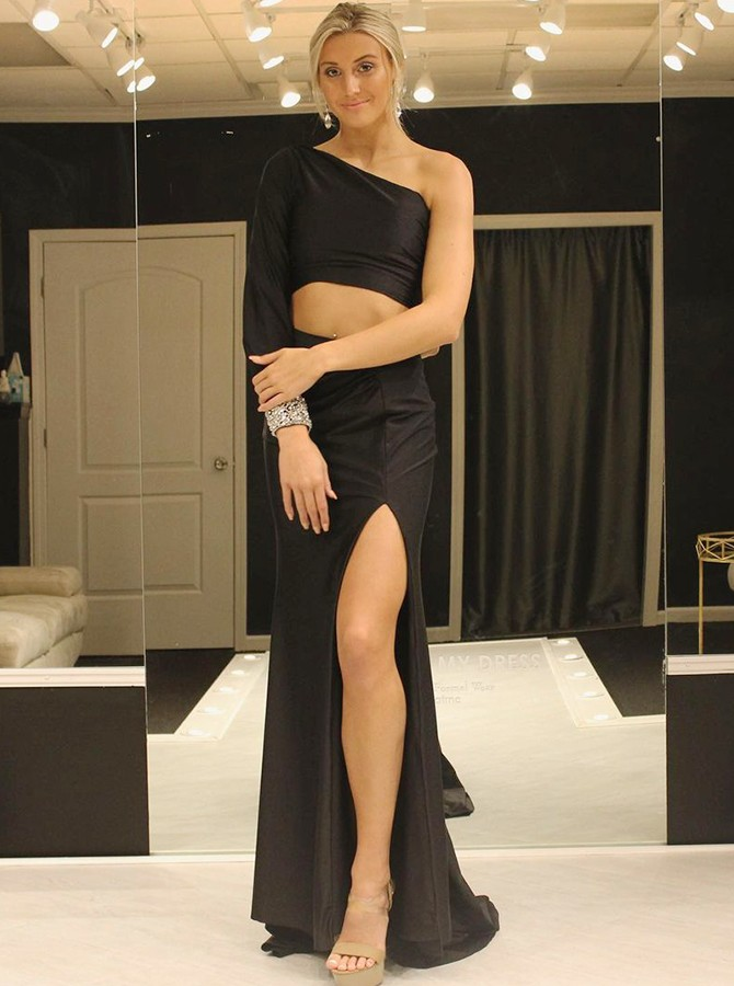 Satin Black Long Prom Dress