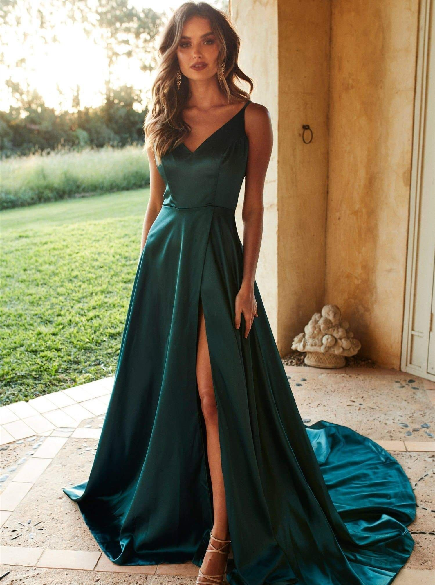 A-Line V-Neck Sweep Train Satin Green Prom Dress with Split
