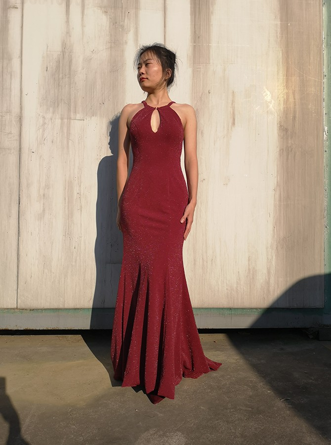 Mermaid Round Neck Long Prom Dress Burgundy Evening Dress with Keyhole