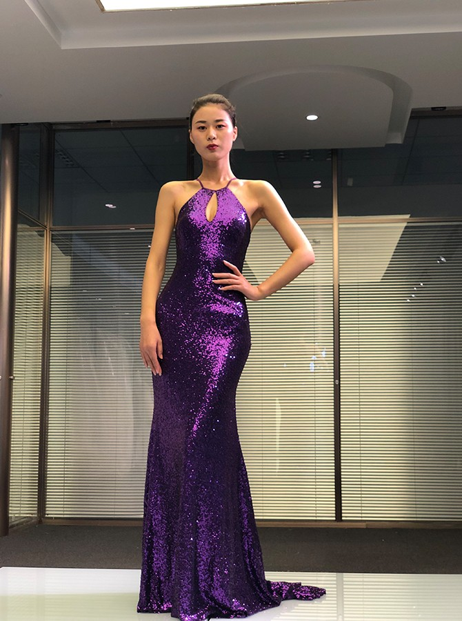 Mermaid Criss-Cross Straps Long Prom Dress Sequined Grape Evening Dress with Keyhole