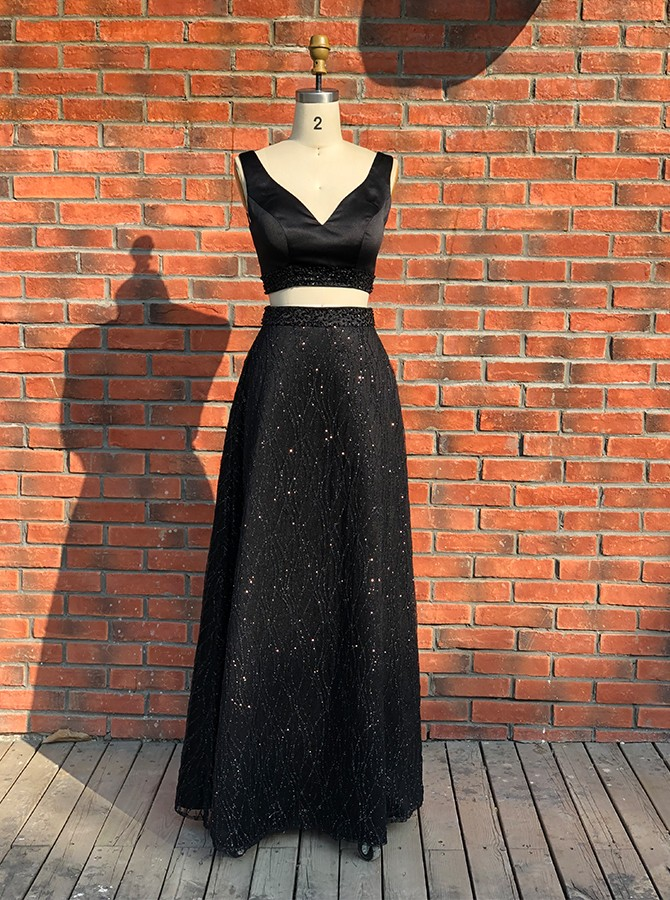 Two Piece V-Neck Long Black Prom Dress with Beading Backless