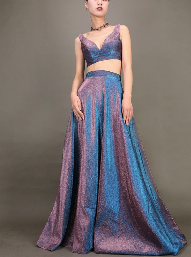 Modest V-Neck Sleeveless Two Piece Long Satin Prom Dress