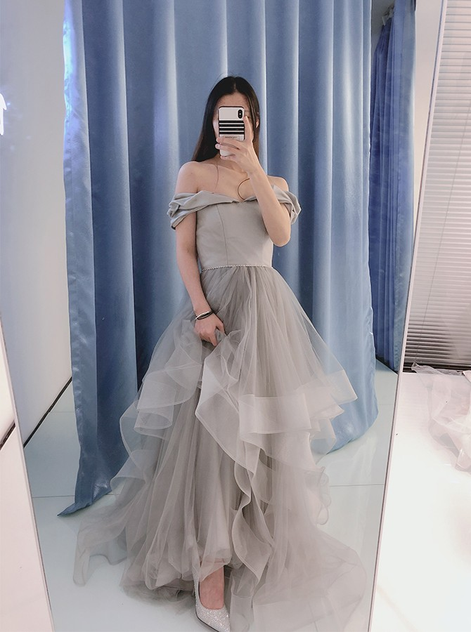 Chic Off Shoulder Long A-Line Grey Prom Dress with Beading Tiered
