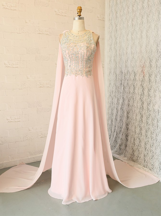 A-Line Round Neck Watteau Train Pink Prom Dress with Beading