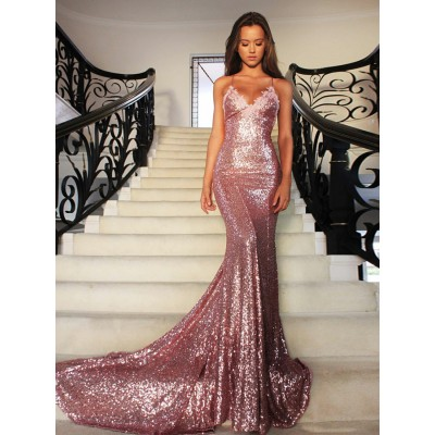 Mermaid V-Neck Sweep Train Rose Pink Sequined Prom Dress with Lace