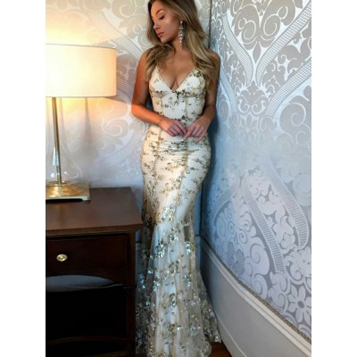 Mermaid Scoop Floor-Length Champagne Lace Prom Dress with Sequins