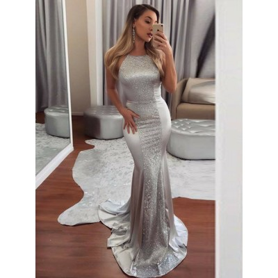 Mermaid Crew Backless Sweep Train Silver Prom Dress with Sequins