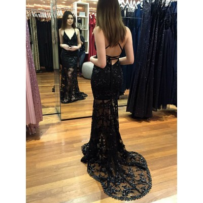 Mermaid Spaghetti Straps Black Prom Dress with Appliques Sequins