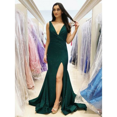 Mermaid V-Neck Sweep Train Dark Green Prom Dress with Sequins