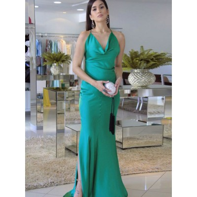 Mermaid Spaghetti Straps Sweep Train Turquoise Prom Dress with Split