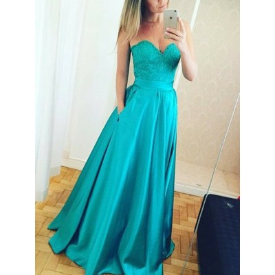 A-Line Sweetheart Sweep Train Turquoise Prom Dress with Pockets Lace