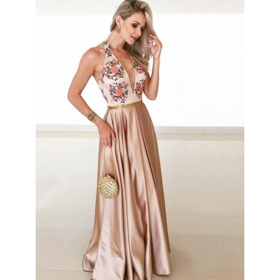 A-Line Halter Backless Champagne Prom Dress with Lace Sequins