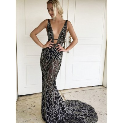 Mermaid V-Neck Backless Sweep Train Black Prom Dress with Sequins