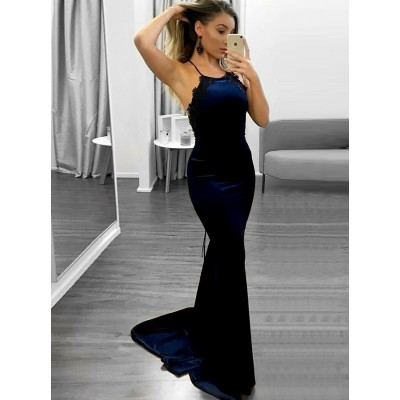 Mermaid Spaghetti Straps Sweep Train Navy Blue Prom Dress with Lace