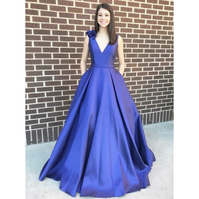 A-Line V-Neck Sweep Train Royal Blue Prom Dress with Pockets Flowers