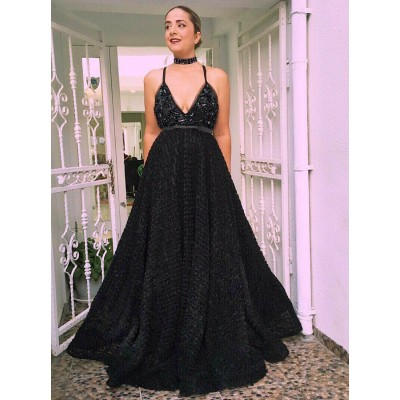 A-Line Spaghetti Straps Black Lace Prom Dress with Beading Sequins