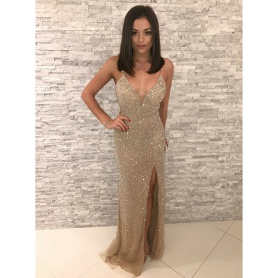 Mermaid Spaghetti Straps Backless Floor-Length Champagne Prom Dress with Beading
