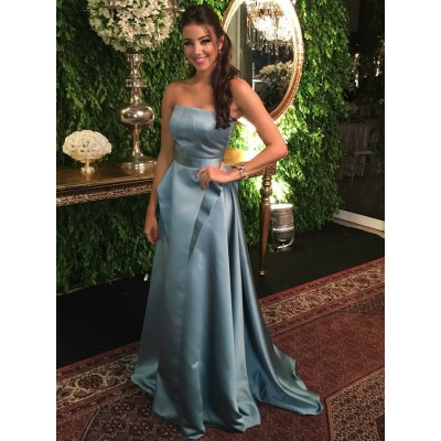 A-Line Strapless Sweep Train Grey Satin Prom Dress with Ruffles