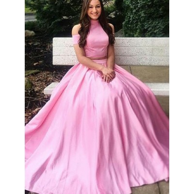 Two Piece High Neck Short Sleeves Pink Satin Prom Dress with Pleats