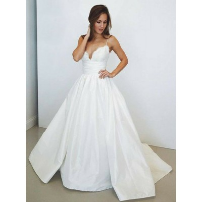 A-Line Spaghetti Straps Sweep Train White Prom Dress with Lace