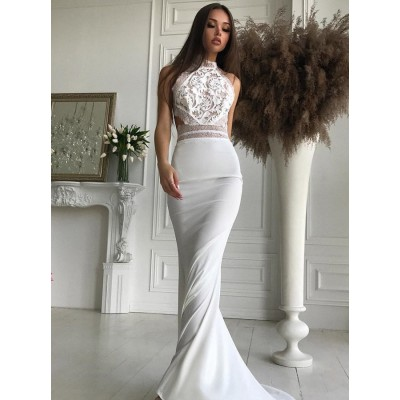 Mermaid High Neck Open Back Sweep Train White Lace Bodice Prom Dress