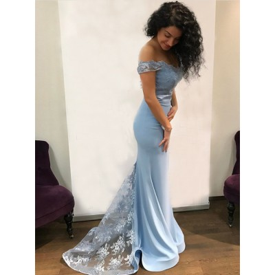 Mermaid Off-the-Shoulder Sweep Train Light Blue Prom Dress with Lace