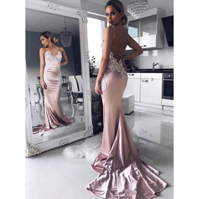 Mermaid Spaghetti Straps Backless Sweep Train Pink Prom Dress with Lace