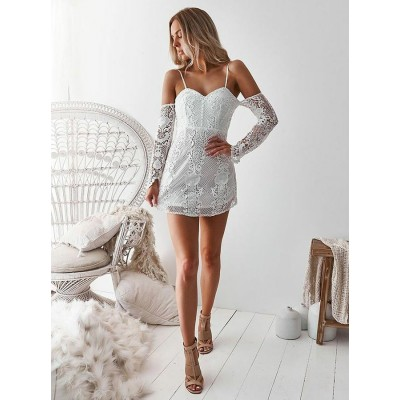 Sheath Off-the-Shoulder Long Sleeves Short White Lace Homecoming Cocktail Dress