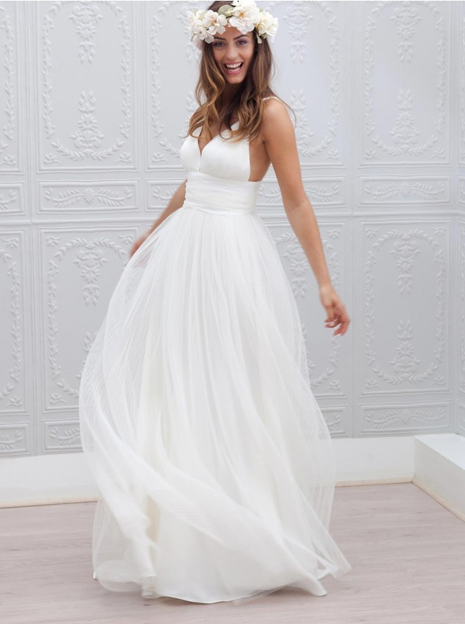Simple V-Neck Floor-Length Zipper-Up White Wedding Dress Ruched Sash