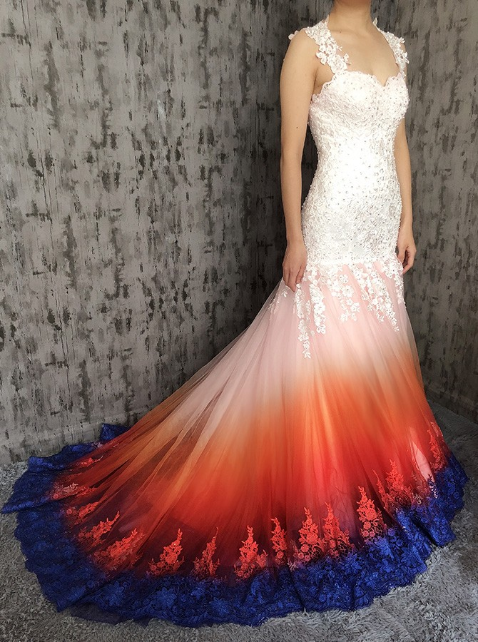 Mermaid Straps Open Back Sweep Train Ombre Wedding Dress with Appliques Beading