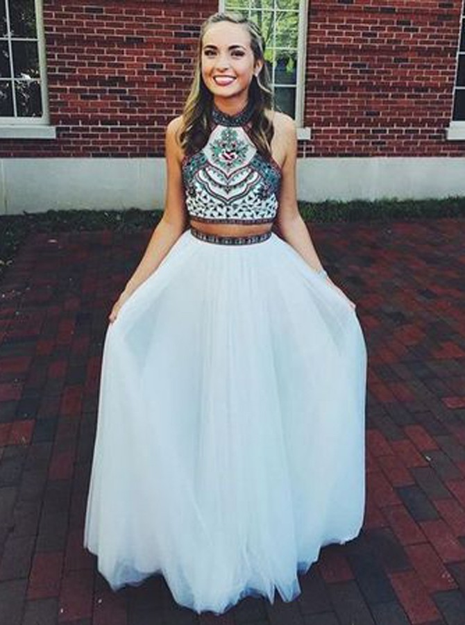 Elegant Backless Two Piece Halter Floor-Length White Prom Dress with Embroidery