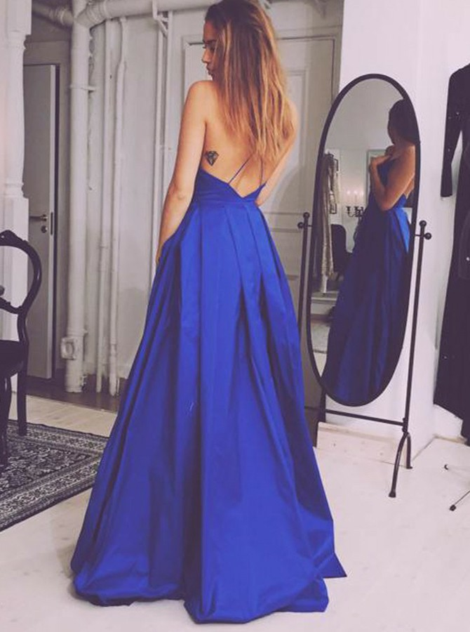 A-Line Spaghetti Straps Floor-Length Criss-Cross Straps Royal Blue Prom Dress