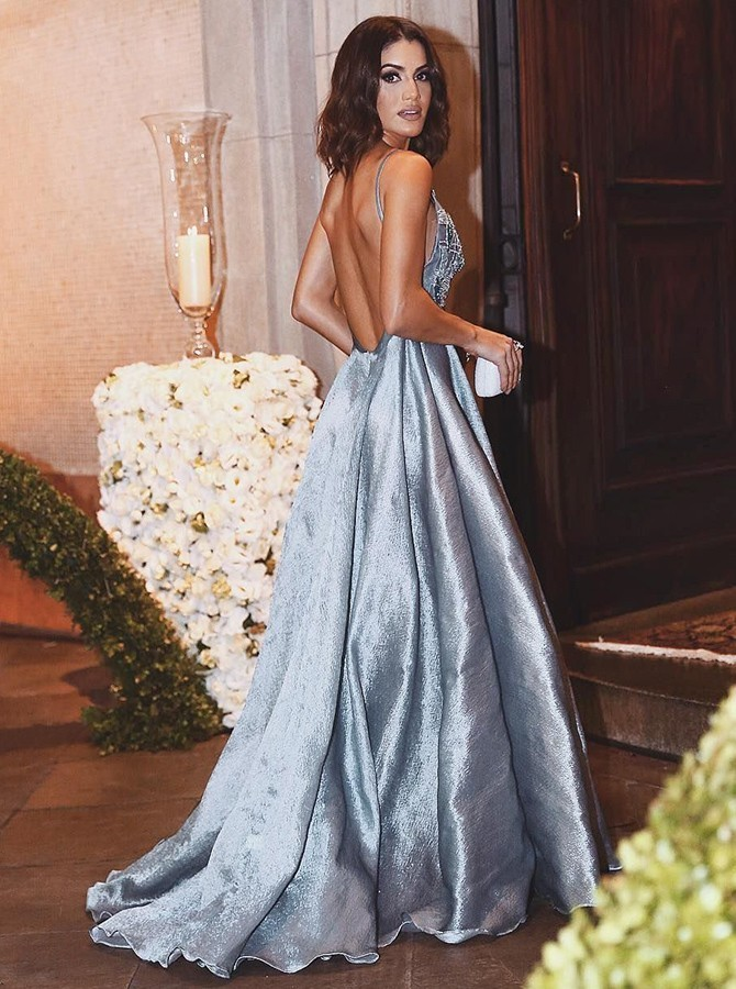 A-Line Spaghetti Straps Backless Light Sky Blue Beaded Appliques Prom Dress