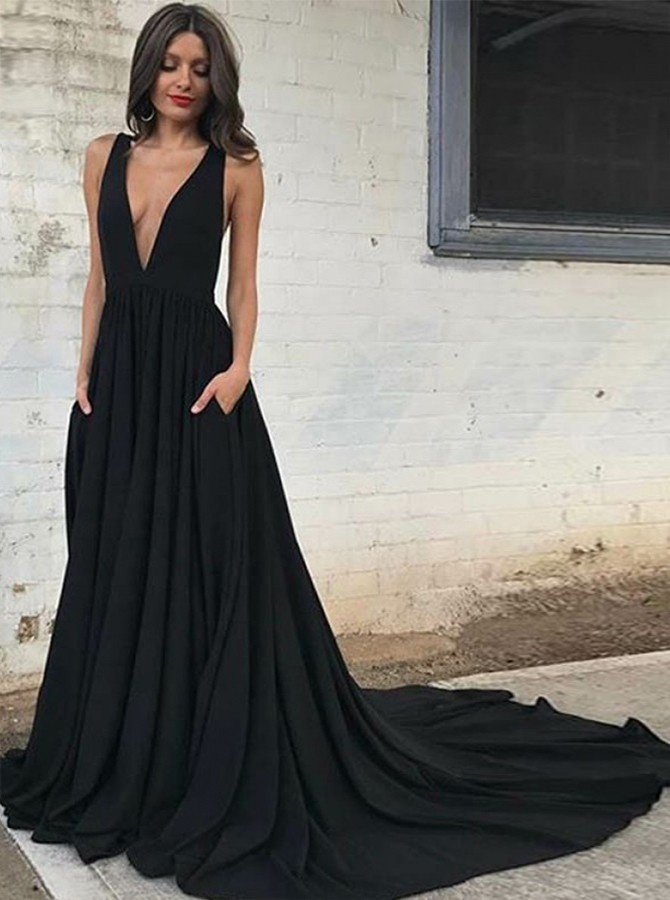 A-Line Deep V-Neck Court Train Sleeveless Backless Black Chiffon Prom Dress