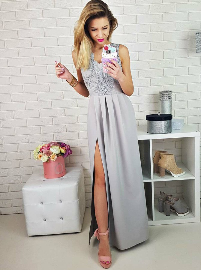 A-Line V-Neck Floor-Length Grey Prom Dress with Appliques Split