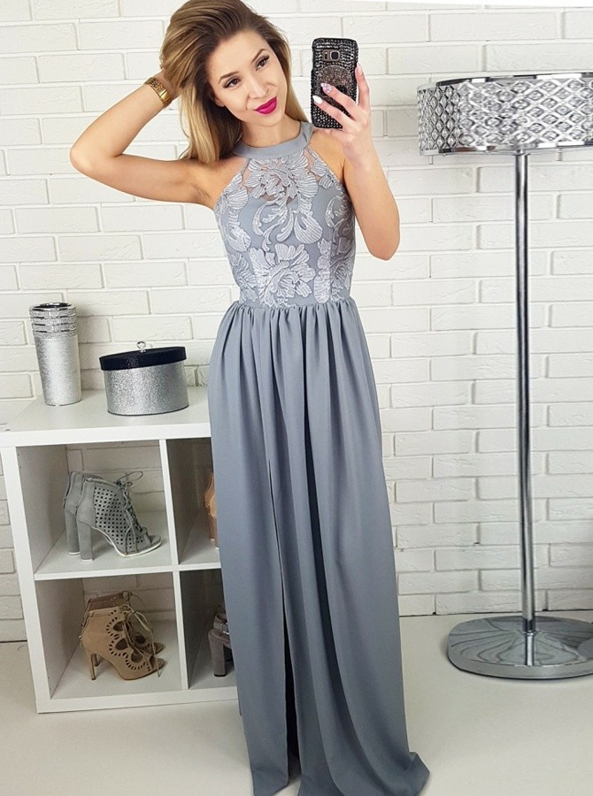 A-Line Jewel Floor-Length Grey Chiffon Prom Dress with Appliques Split