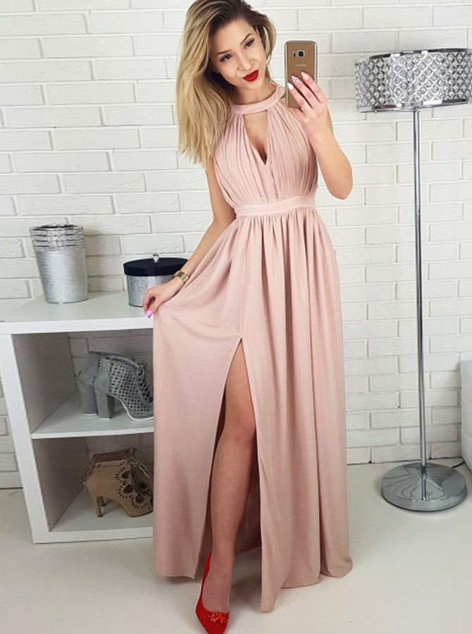 A-Line Jewel Floor-Length Blush Chiffon Prom Dress with Keyhole Split