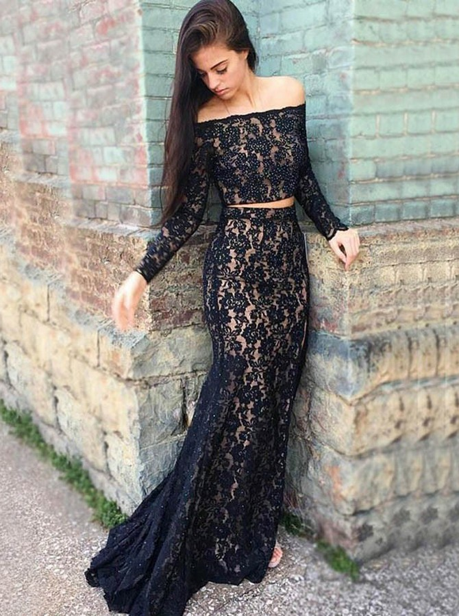 Two Piece Off-the-Shoulder Long Sleeves Black Lace Prom Dress