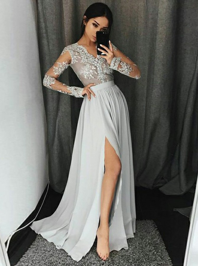 A-Line V-Neck Long Sleeves Floor-Length Grey Prom Dress with Appliques Split