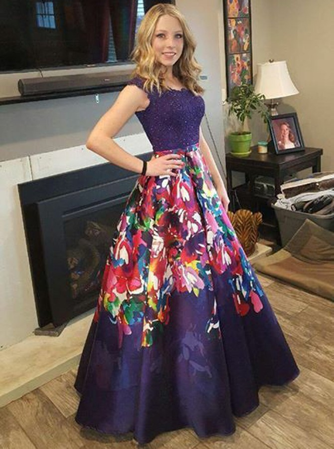 A-Line Round Neck Floor-Length Purple Printed Prom Dress with Beading