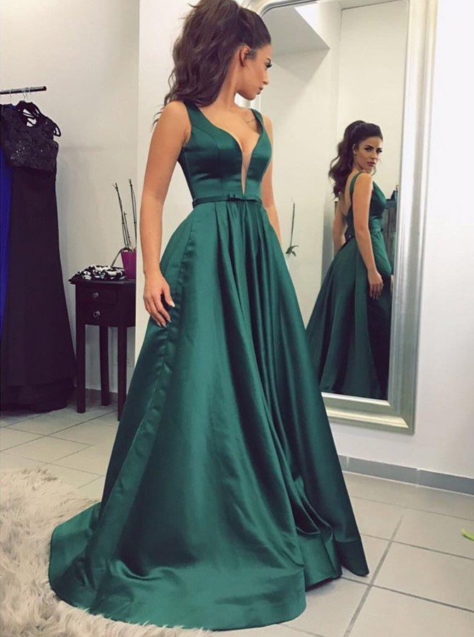 A-Line V-Neck Backless Sweep Train Dark Green Prom Dress with Sash