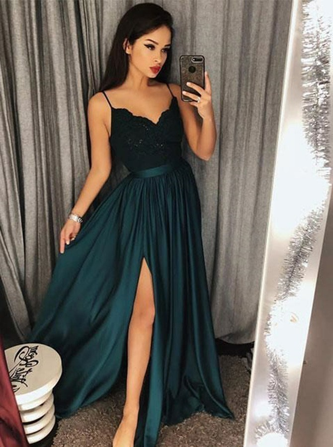 A-Line Spaghetti Straps Dark Green Prom Dress with Appliques Split