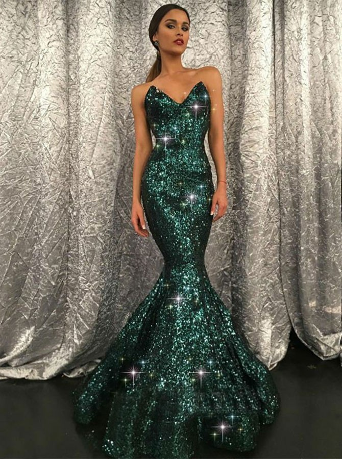 Mermaid Sweetheart Sweep Train Glitter Prom Dress with Sequins