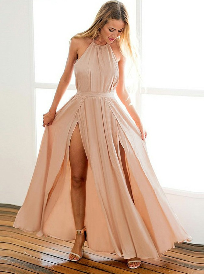A-Line Halter Backless Floor-Length Blush Prom Dress with Split