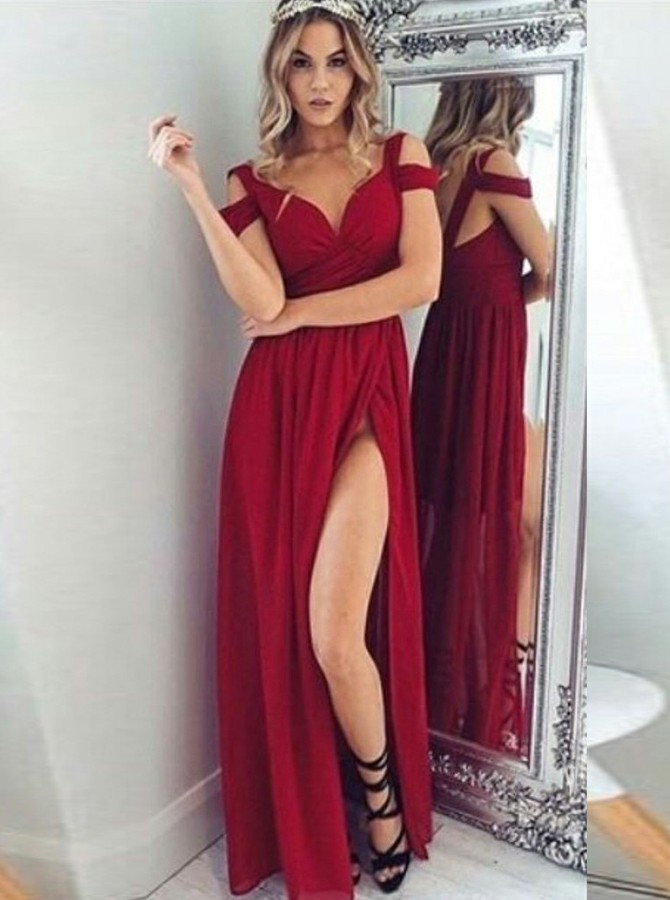A-Line Cold Shoulder Backless Floor-Length Dark Red Chiffon Prom Dress with Split